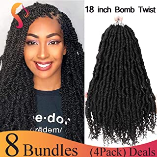 (18inch,2#,4packs,24Roots/pack,126g/pack) BaiHong Large Bomb Twist Crochet Hair 4 Packs Spring Twist Crochet Braids Synthetic Fluffy Hair Extension(18 inch,2#)