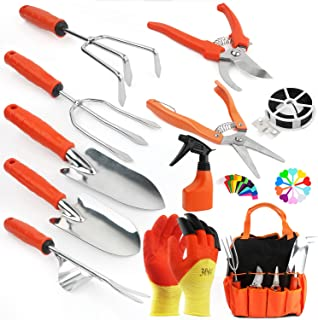 WINIT Garden Tool Set, Stainless Steel Heavy Duty Gardening Tool Set, Storage Pocket Tote Bag, Full Set Gardening Tool Gif...