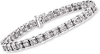 2.00-2.15 ct. t.w. Diamond Cluster Tennis Bracelet in Sterling Silver