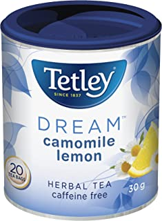 Tetley Tea Dream (Camomile Lemon) Herbal Tea, 20-Count Round Bags {Imported from Canada}