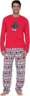 PajamaGram Mens Pajamas Set Cotton - Mickey Mouse Pajamas, Red/Gray