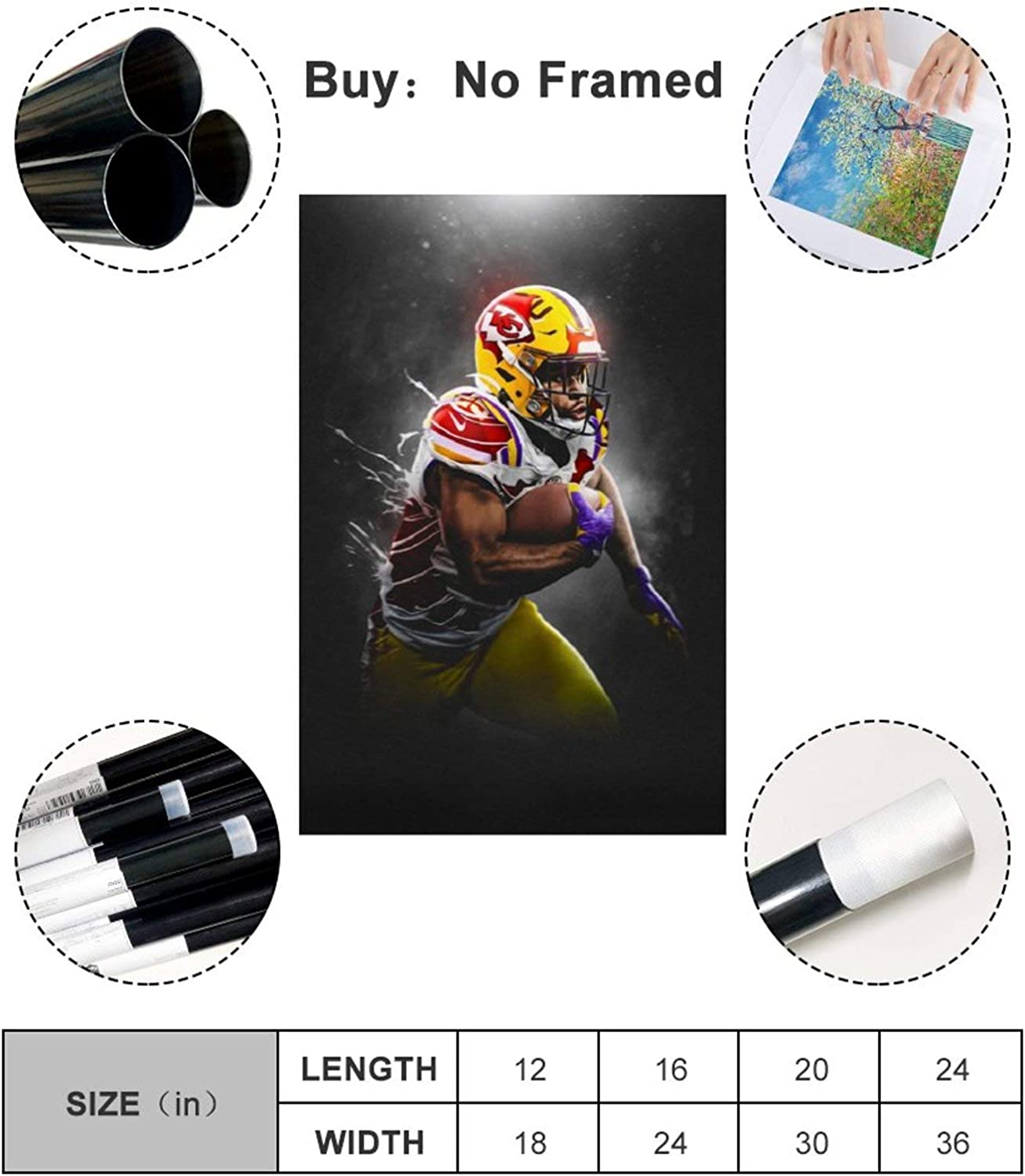 30x45cm qiaoke American Football Clyde Edwards Helaire Kansas City Chiefs LSU Tigers Canvas Art Poster and Wall Art Picture Print Modern Family Bedroom Decor Posters 12x18inch