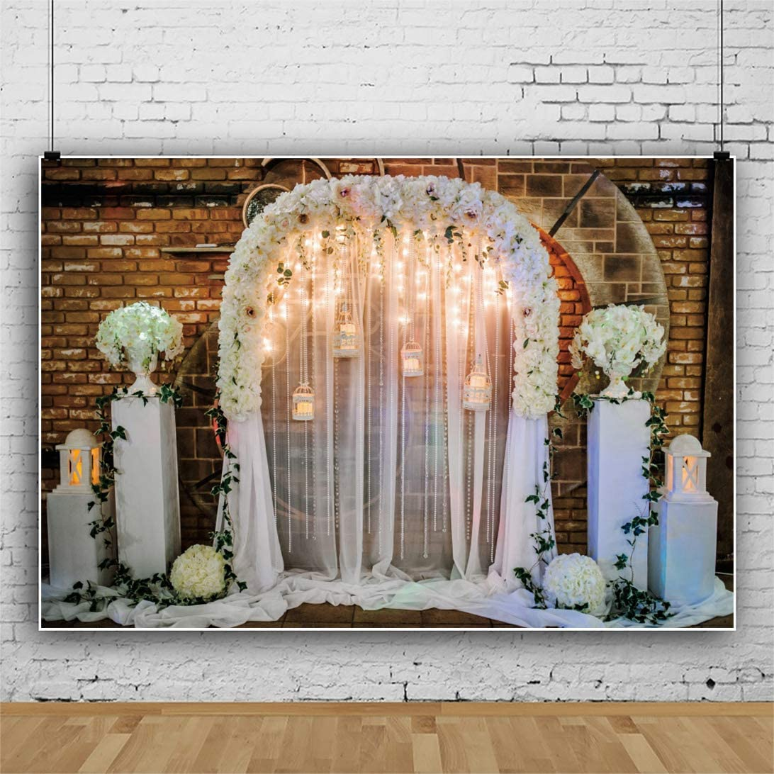 DORCEV 12x10ft Interior Wedding Photography Backdrop Retro Brick Wall Flowers White Curtain Background Wedding Ceremony Bridal Shower Party Banner Photo Studio Props Wallpaper