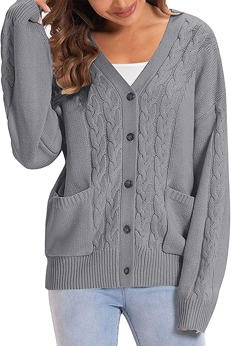 Coziavenue Women's Cable Knit Cardigan V Neck Long Sleeve Button Down Knitwear Pocket Cropped Sweater Outwear
