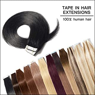 Tape in Human Hair Extension Jet Black(#1) 24inch Long Straight 100% Remy Human Hair Bonding Double Sided Tape Seamless Skin Weft Hair 40pcs/100g