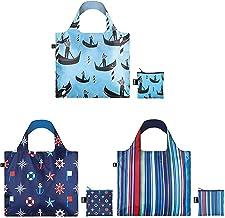 حقائب تسوق قابلة لإعادة الاستخدام للسفر بحرية من لوكي، مجموعة من 3 قطع، كلاسيكية، غوندولا، مقلمة