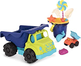 Battat B. Toys Complete Colossal Truck & Sand Bucket Set (10-pc) – Toy Cars, Vehicles, and Beach Accessories for Kids Ages 18 Months+