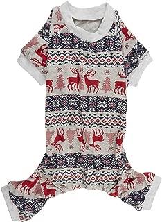 Lanyar Christmas Holiday Pet Dogs Pajamas Clothes 100% Cotton Santa Claus Rudolph Reindeer