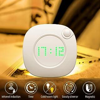 Lightess Luz Nocturna con Sensor Movimiento Luz Nocturna Infantil Regulable Lámpara de Cabecera con Reloj Brillo Ajustable Luz Quitamiedos Infantil LED Pilas para Dormitorio, Habitación Bebé, Baño