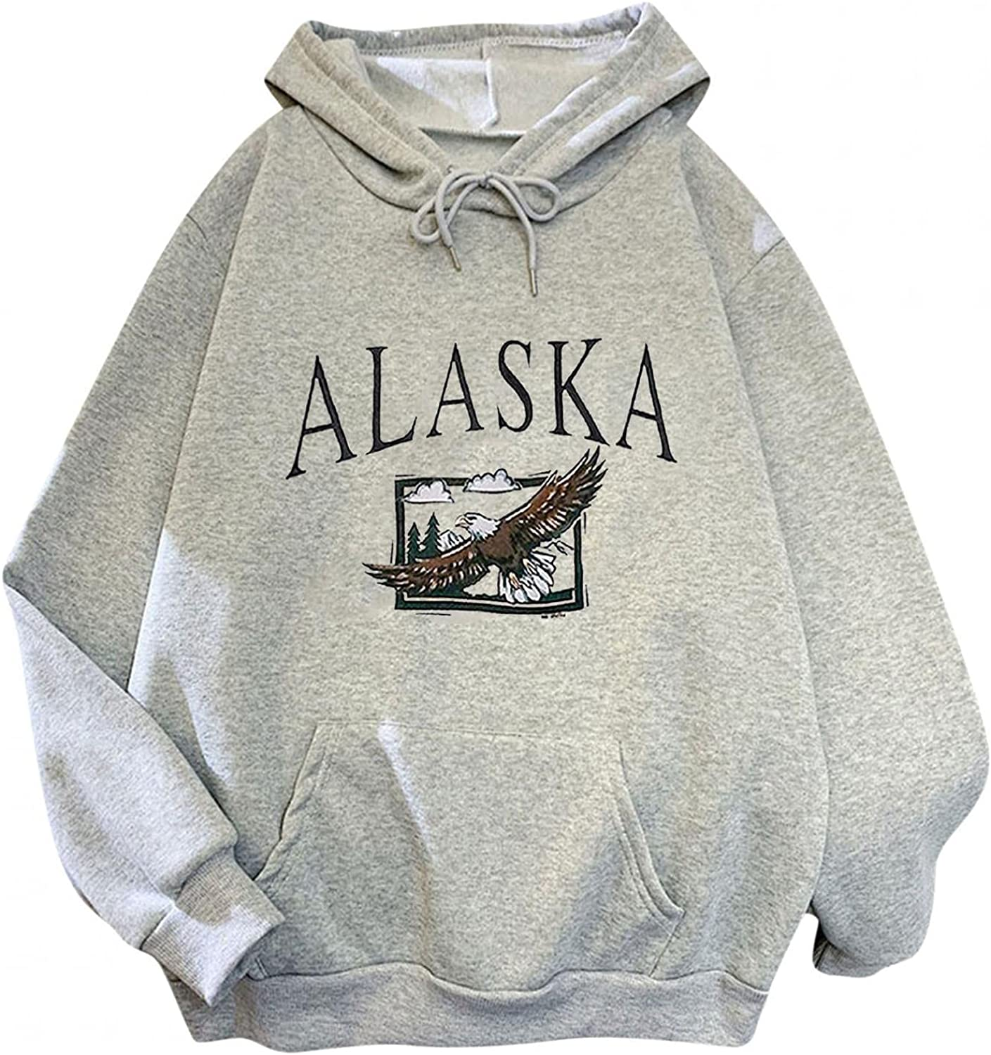 Qunkii Women's Casual Hooded Sweatshirt,Teen Girls Soft Alaska Letter Print Pullover Loose Hoodie Size M-3XL with Pocket