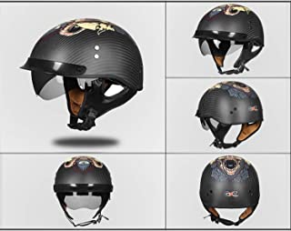 AA100 Retro Teen Motorcycle Carbon Fiber Helmet/DOT Certification/ATV Scooter Lightweight Personality Half Helmet with Windshield Eyes (Mute Black, Bright Black),Gray,L