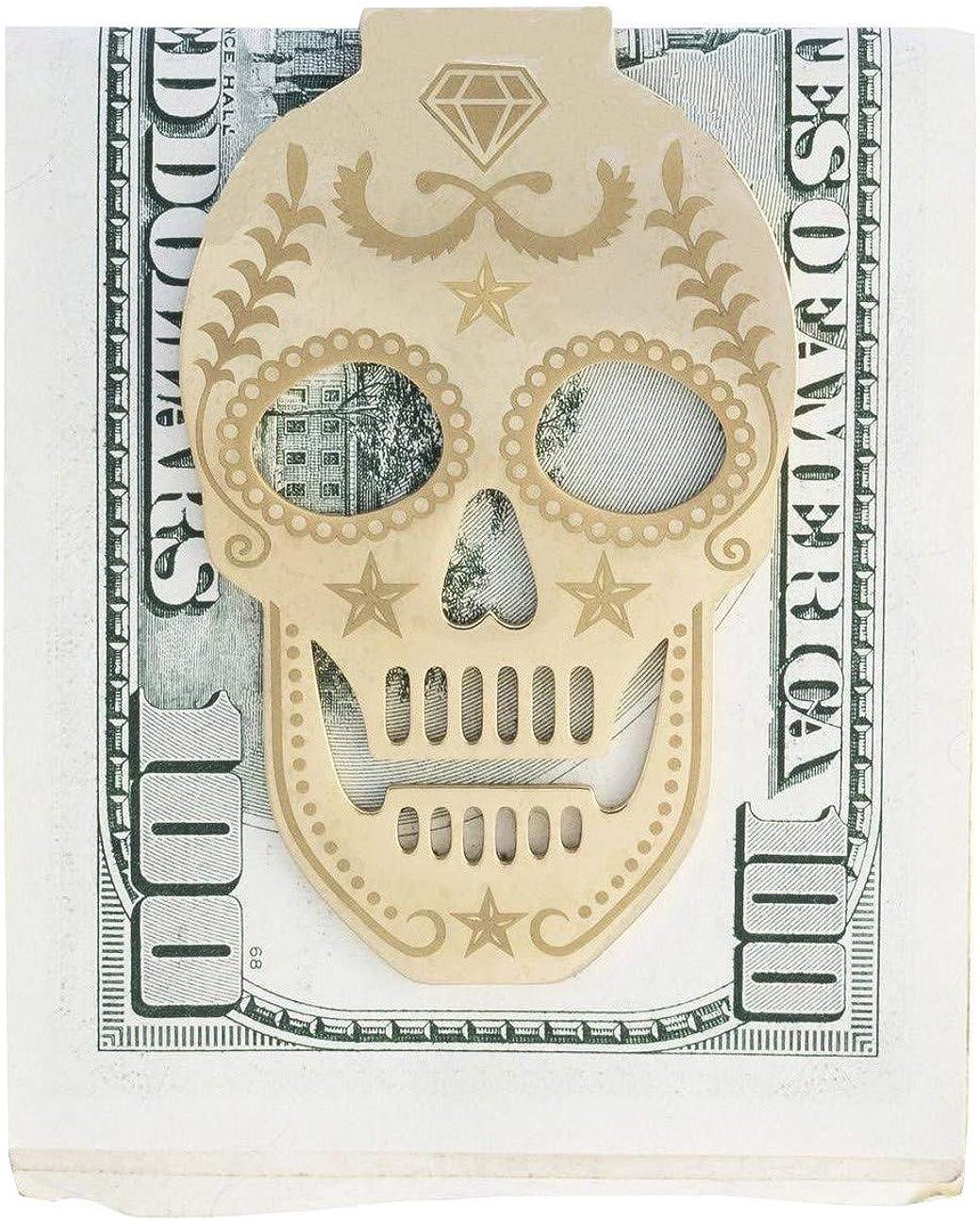 Stainless Steel Skull Money Clip Wallet Front Pocket - Practical, Slim, Cash & Business Card Clamp Holder Gift for Men, Women