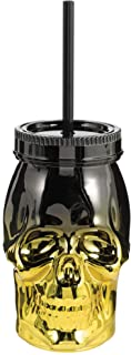 Black and Gold Skull Straw Cup- 1 pc.