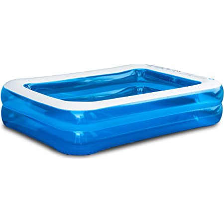 KEPLIN Sable Rectangular Inflatable Family Paddling Swimming Pool Indoor & Outdoor for Kids and Adults, Blue & White (10ft/305 x 183 x 56cm)