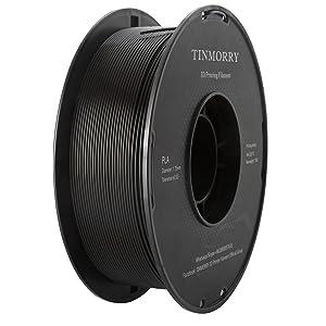Filament PLA 1.75mm Noir, TINMORRY Imprimante 3D Filament 1 kg Spool