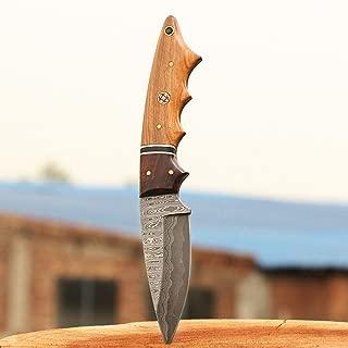 JNR TRADERS Custom Handmade Damascus Steel Sanmai Skinner Knife Ladder Pattern 9 inches vkk2188