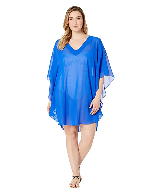 Maxine of Hollywood Swimwear Plus Size Solid Chiffon Caftan Cover-Up (Cobalt) Women