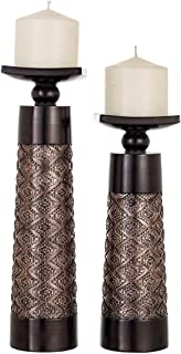 Dublin Decorative Candle Holder Set of 2 – Home Decor Pillar Candle Stand, Coffee..