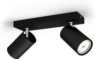 Philips Kosipo Opbouwspot 2-Lichts - GU10 Fitting - Accentverlichting - Excl. Lamp - Draaibaar - Rechthoekig - Zwart