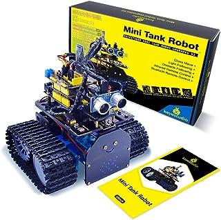 KEYESTUDIO Mini Tank Robot Smart Car Kit for Arduino, Light/Ultrasonic Follow, IR Infrared and Bluetooth Wireless Remote E...