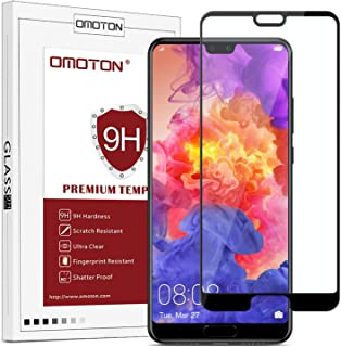OMOTON Compatible Screen Protector for Huawei P20, Full Coverage Glass Protector with Easy Installation
