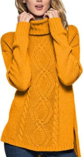 Sovoyontee Women Irish Artificial Wool Blending Turtleneck Knit Pullover Sweaters