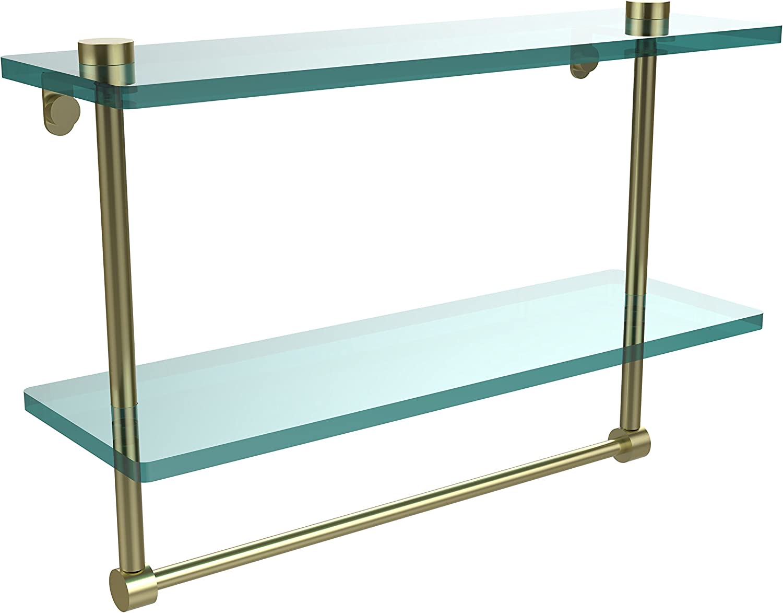 Allied Brass NS-2 16TB-SBR 16-Inch Double Glass Shelf with Towel Bar