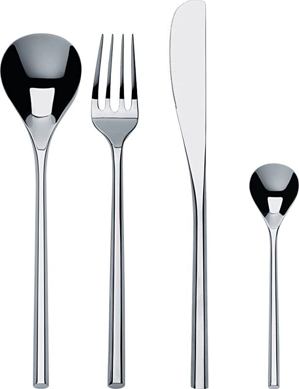 Alessi MU Flatware Set Composed Of Six Table Spoons Table Forks Table Knives Coffee Spoons In 18 10 Stainless Steel Mirror Polished Silver