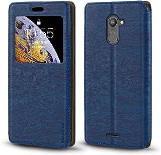 جراب Infinix Hot 4 X557، جراب جلد محبب خشبي مع حامل بطاقات ونافذة، غطاء قلاب مغناطيسي لـ Infinix Hot 4 Pro