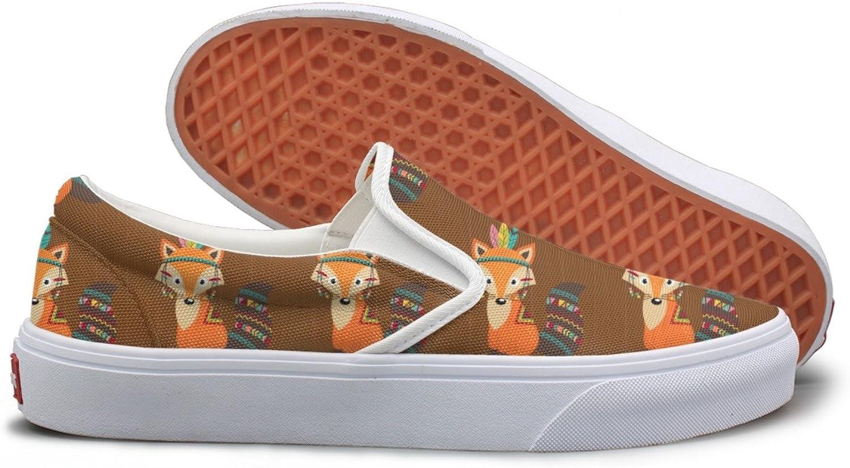Tribal Fox On Wooden Background School Sneakers For Women