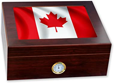 ExpressItBest Premium Desktop Humidor - Glass Top - Flag of Canada (Canadian) - Waves Design - Cedar Lined with humidifier &