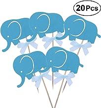 BESTOYARD 20pcs Cake Cupcake Toothpick Toppers Elephant Cake Decoration for Party Dessert (Blue)