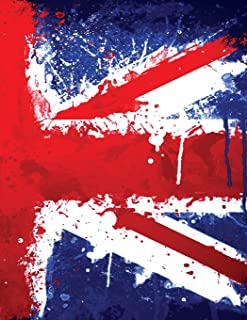 My British Union Jack Flag Journal: An English Graffiti Grunge Style Dripping With Red, White and Blue Paint: College-Ruled 120-Page Notebook