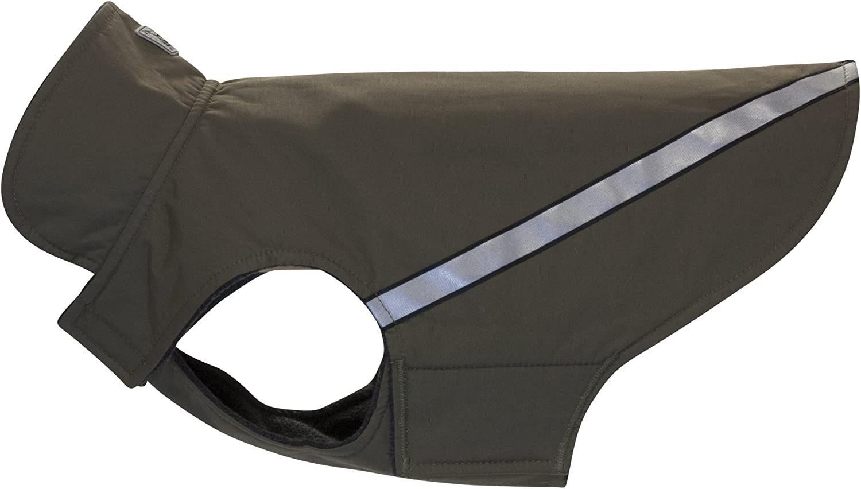 RC Pet Products West Coast Rainwear Raincoat, Fleece Lined, WaterResistant, Reflective Dog Coat, Size 20, Olive