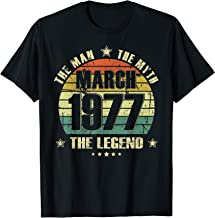 Vintage Born In March 1977 Man Myth Legend 43 Years Old T-Shirt