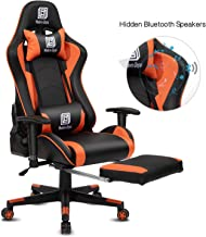 High-Back Swivel Gaming Chair Recliner with Bluetooth 4.1 Speakers, Footrest, Headrest and Lumbar Support   Height Adjustable Ergonomic Office Chair - Black & Orange