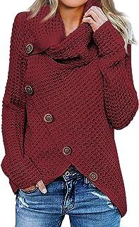 Asvivid Women`s Chunky Button Turtle Cowl Neck Asymmetric Hem Wrap Pullover Sweater