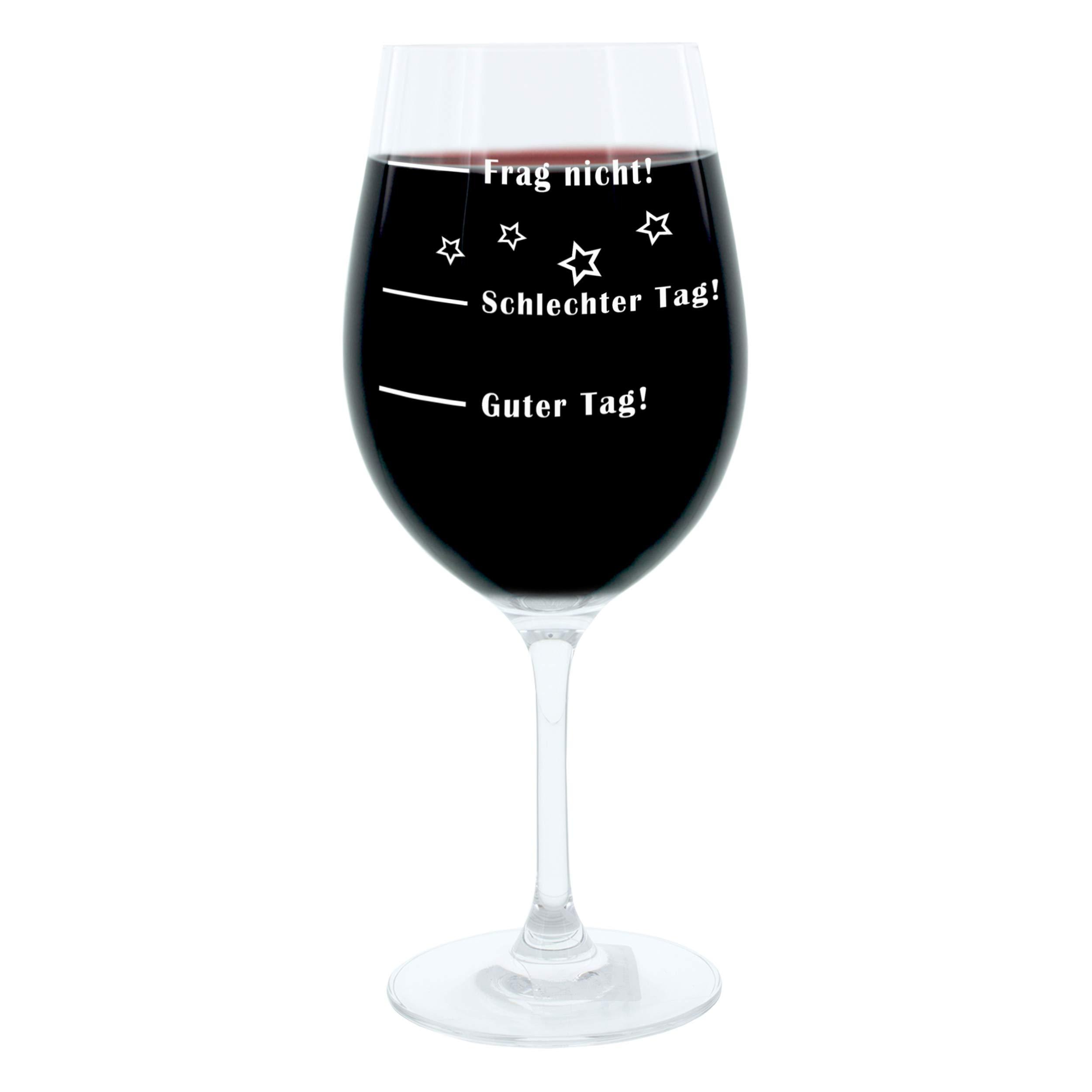 // /¡Mal d/ía Juego de 2 copas de vino Leonardo // /¡No preguntes!/» Copa con estado de animo /«/¡Buen d/ía de 365 ml con grabado.