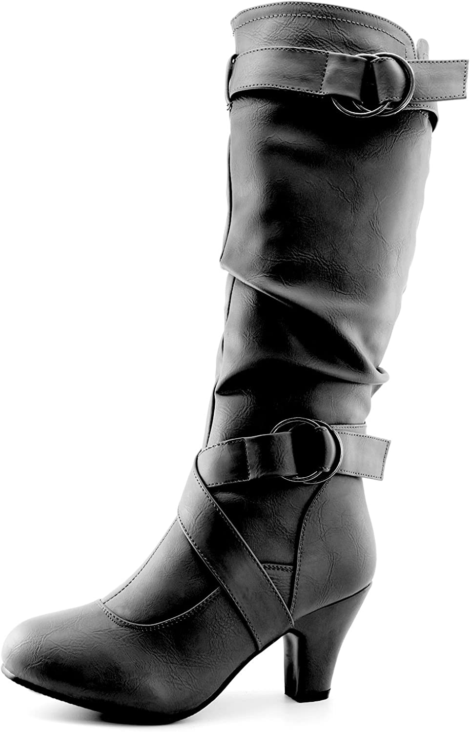 Dailyshoes Women's Mid Calf Ankle Strap Slouchy Fashion Boots, Black PU, 11 B(M) US