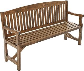 Gardeon 3 Seater Wooden Outdoor Furniture Garden Patio Bench Chair-Brown