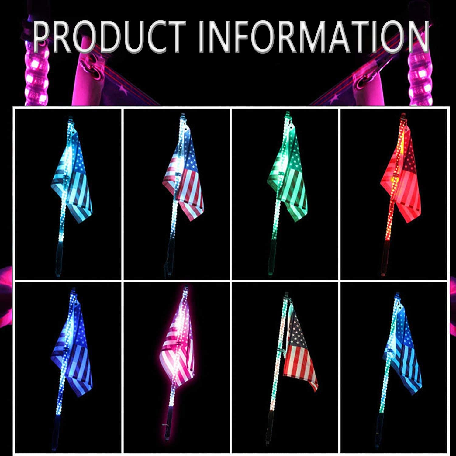 DIBMS 4ft LED Whip Lights with Flag Pole Remote Control 360/° Spiral LED RGB Chase Dancing Light Offroad Warning Lighted Antenna Whips for UTV ATV Off-Road Truck Sand Buggy Dune RZR Can-am Boat 2PCS