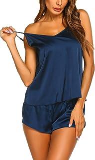 Ekouaer Sleepwear Womens Sexy Lingerie Satin Pajamas Cami Shorts Set Nightwear XS-XXL