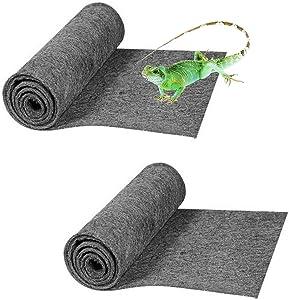 Tfwadmx Reptile Carpet Gray Terrarium Mat Liner Bedding Bearded Dragon Substrate Supplies for Snake Tortoise Lizard Leopard Gecko 39'' x 20'' 2Pack