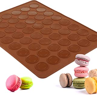 Gwhole Tapis de Cuisson Macarons, Plaque à Macarons en Silicone Anti-adhésif 48 Coques Macaron - 39 x 29cm