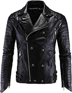 Mens Dark Skull Head Button Biker Leather Jacket for Cool Guys