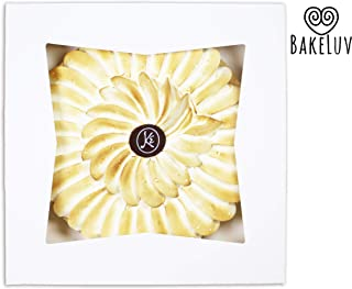 BakeLuv White Bakery Boxes with Window 9x9x2.5 inches | 25 Pack | Auto-Popup | Thick & Sturdy 350 GSM | Mini Pie Boxes with Window, Cake Boxes, Cookie Boxes, Dessert, Take Out Boxes, Pastry Boxes