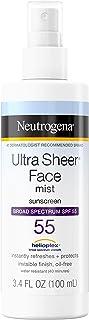 Neutrogena Ultra Sheer Face Mist Sunscreen Spray Broad Spectrum SPF 55, Lightweight, Non-Greasy & Water Resistant, Oil-Fre...
