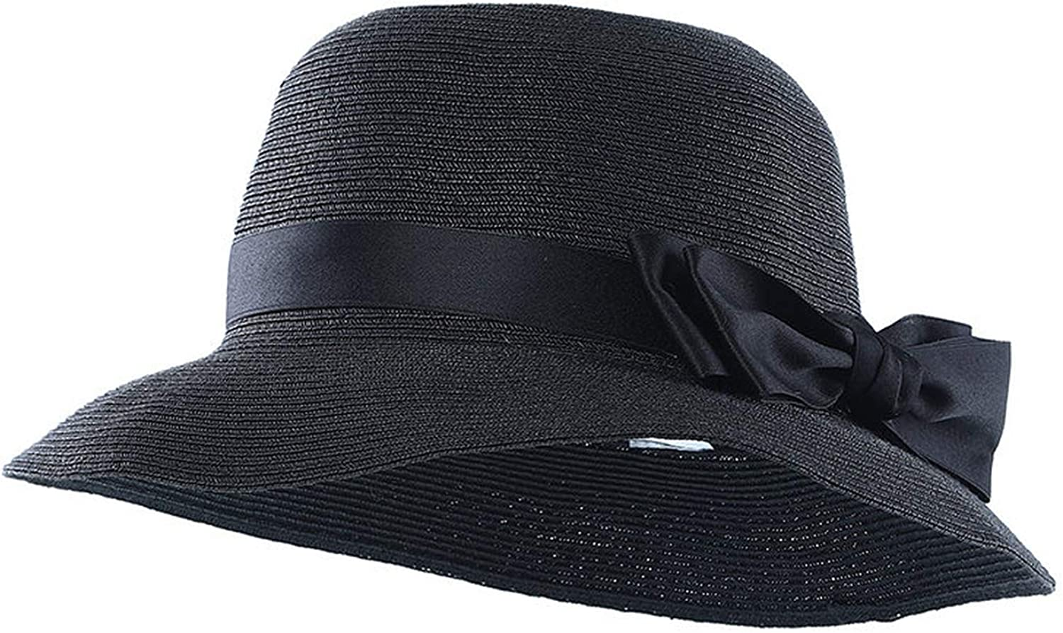 DOSOMI Women Paper Straw Fedora Church Hats Ribbon Bow Cloche Bucket Summer Sun Hat Women Formal Party Cap