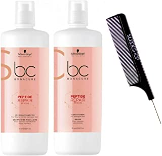 Schwarzkopf BC Bonacure REPAIR RESCUE SHAMPOO & CONDITIONER Duo SET for FINE TO NORMAL DAMAGED HAIR (with Sleek Steel Pin ...