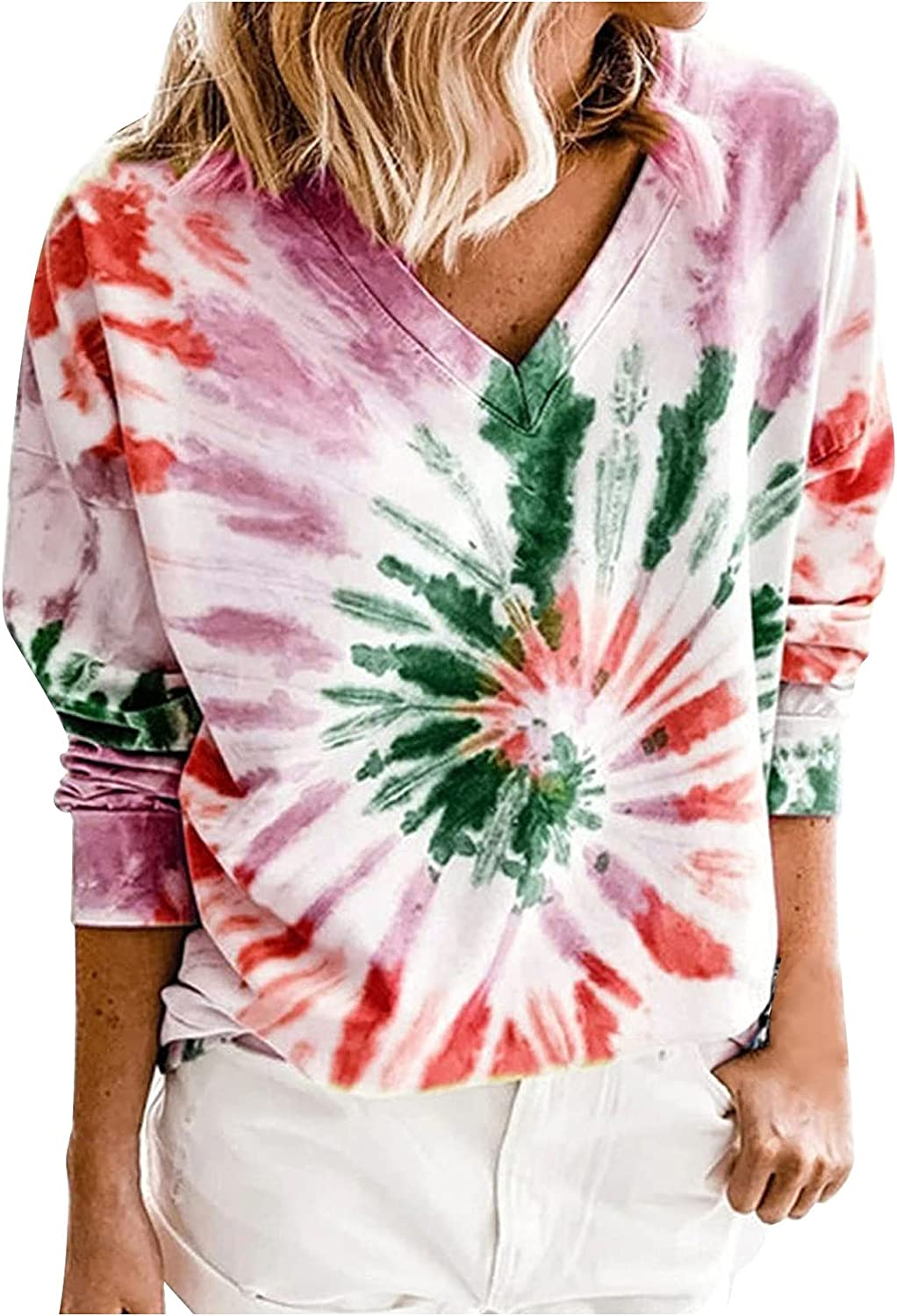 Women's Tie Dye Button Loose Strip Printing Tops V Neck Out Long Sleeve Shirts Hoodies Pullover Sweatshirts
